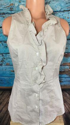 New York & Company Women's Tan White Striped Sleeveless Button Shirt Sz Small S   | eBay