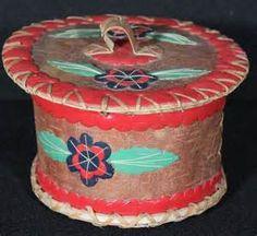 ... Birch Bark Basket with Applique Design, Baskets by Artist Unknown