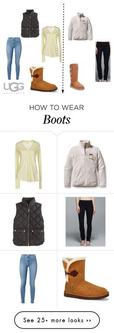 """""""Boot Remix with UGG : Contest Entry"""" by caitlinm66 on Polyvore featuring UGG Australia, Patagonia, lululemon, 7 For All Mankind, RA-RE, J.Crew and uggaustralia"""