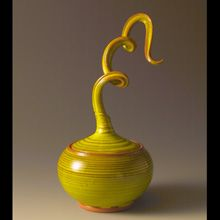 """Barbara Dunshee, """"Harlequino"""" Lidded Vessel. Thrown and altered terra cotta with low fire glazes. Private collection."""