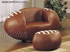 Football Lounger.. for the fan in your life. Man cave? Kids room? The ottoman fits inside so it looks like a football!
