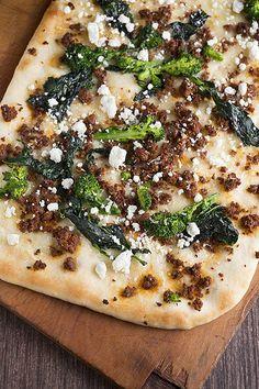 Lamb chorizo-goat cheese-broccoli rabe pizza...