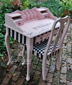 French Shabby Feminine Glam Pink and Black desk dressing table vanity SOLD furniture upcycling furniture ideas furniture before and after furniture diy furniture bedroom