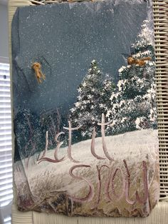 Christmas: Hand painted slate by Kris White