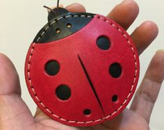 Ready Stock - Big size - Penny the ladybug vegetable tanned leather charm ( Red / black )