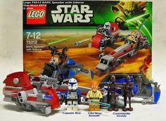 Star Wars Lego 75012 BARC Speeder with Sidecar was released in Captain Rex, Obi-Wan Kenobi, Commando Droids. Star Wars Toys, Lego Star Wars, Lego Penguin, Costum, Lego Boat, Activity Toys, Activities, Lego Display, Pokemon