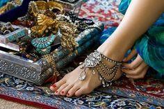 Exotic foot jewelry.
