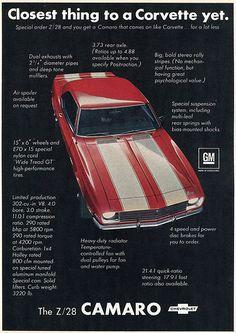 1968 Chevrolet Z28 Camaro Advertisement Hot Rod Magazine May 1968