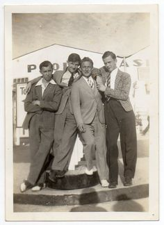 Four  Men Vintage Snapshot Photo.  Can't love this much more than I do!
