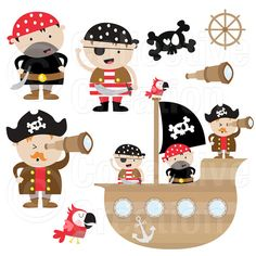 Pirates and Pirate Ship Digital Clip Art Set - Personal and Commercial Use Deco Pirate, Pirate Theme, Pirate Clip Art, Pirate Birthday, Applique Patterns, Baby Quilts, Paper Dolls, Crafts For Kids, Paper Crafts