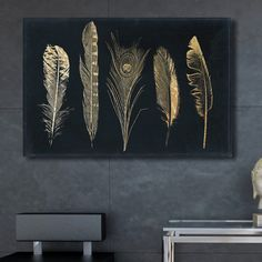 Wall Art Bungalow Rose Corinthian Feathers Fashion Art by Oliver Gal – Wrapped Canvas Graphic Art Print Size: H x W x D Feather Fashion, Fashion Art, Bohemian Art, Painting Prints, Art Print, Paintings, Diy Canvas Art, Gold Art, Metal Wall Art