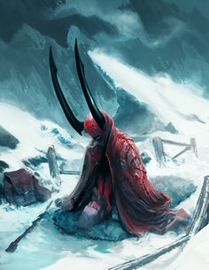 Made for the game Shadow of the Demon Lord Copyright Schwalb Entertainment Probably not a good day to get lost in the snow High Fantasy, Fantasy Rpg, Medieval Fantasy, Character Art, Character Design, Creepy Monster, Beast Creature, Environmental Art, Fantasy Creatures