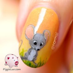 Freehanded sleepy, smiling, jumping, yawning mice on nails. I think they turned out freaking adorable! If I had to wear one design for the rest of my life, this would probably be it. There's a video tutorial on the blog for ya!