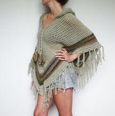 Pixie hood crochet poncho. Boho hippie clothes. от LittleDoLah