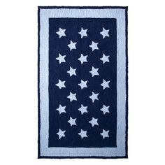 """Tiddliwinks NAVY/WHITE NAVY  WHITE STARS RUG 36"""" x 60"""".Opens in a new window"""