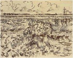 Vincent van Gogh Wheat Field with Sheaves Drawing