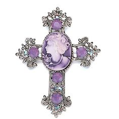 Victorian roxo camafeu broche de cruz