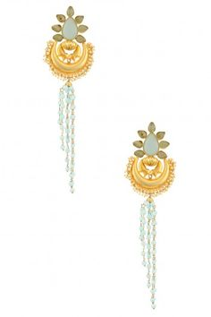 Urban Dhani Gold Finish Mint Blue Crescent Tassle Earrings #happyshopping #shopnow #ppus