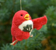 Needle Felted Bird Ornament  Singing with Holly by scratchcraft, $21.00