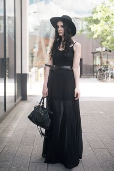 Long black maxi dress. Modern everyday goth.