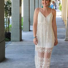 """""""Lovin' in lace"""" 🍾 how beautiful is Kaitlin from @eightpepperberries_paperie?! Be a boho babe in this number! We had so much fun participating in the @verobeachbridalshow2017! This dress was featured in the fashion show! #lace #bridal photo by @cana_rose_photography    #Regram via @shopseahorse"""
