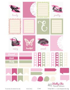 Shabby Chic Planner Stickers | Free Printable Download for personal use only. Vintage glam