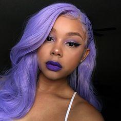 lavender hair, purple lipstick