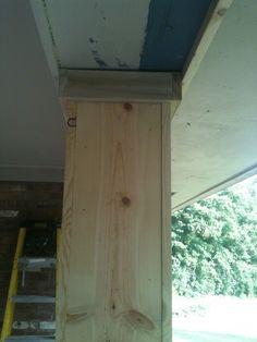 Covering the beams DIY Front Porch Columns Front Porch Columns, Porch Pillars, Brick Columns, Brick Pavers, Diy Balkon, Cedar Posts, Building A Porch, Building Columns, Porch Posts