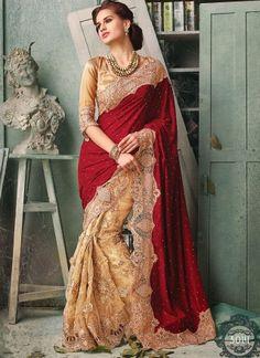 Maroon And Cream Velvet With Net Half N Half Bridal Saree http://www.angelnx.com/Sarees/