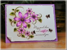 lHeartfelt Creations Fleur Swirls Jul2013 water colored with SU ink: orchid, olive, and chocolate on water color paper