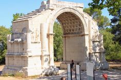 This triumphal arch is part of a couple of monuments known as Glanum and the Antiques (or the antiquities). They are located not from St Remy in Provence. St Remy, In Plan, European Destination, Antiquities, Monuments, Provence, Blue Sapphire, Barcelona Cathedral, Travel Photos