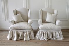Vintage Wingback Chairs Slip Covered in Organic Irish Linen from Full Bloom Cottage