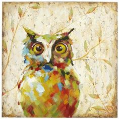 Quirky Owl Art Pier 1 Imports $99.00 - Erin could paint one for me - smaller size, 8x11 for my bathroom