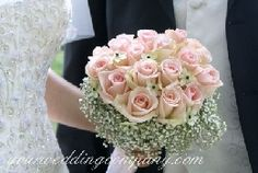 Pink Roses and Baby's Breath Wedding Bouquet