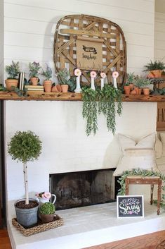 38 Best Modern Farmhouse Fireplace Mantel Decor Ideas - Home/Decor/Diy/Design Farmhouse Fireplace Mantels, Fireplace Mantle, Living Room With Fireplace, Living Room Decor, Fireplaces, Fireplace Decorations, Mantle Ideas, Foyer Decorating, Farmhouse Style Decorating