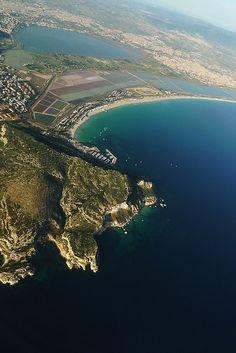 Aerial view of the Poetto Beach in Cagliari - Sardinia - Italy