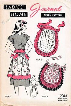 Vintage Sewing Patterns, Apron Patterns, Cobbler Aprons, Half Apron, Aprons Vintage, One Piece Dress, 1940s, Journal, Scallops