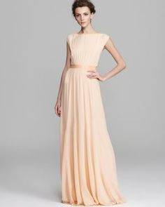 Alice and Olivia dress.. Peach would be a nice color for a summer wedding!