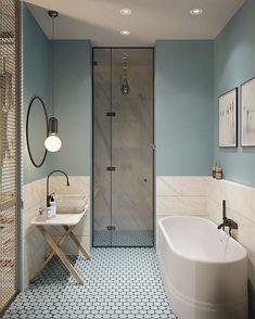 Gorgeous 78 Light Blue Bathroom Color Decorating Ideas 28 Bathroom Lighting Ideas to Brighten Your Style Design # Beautiful Bathrooms, Modern Bathroom, Bathroom Vintage, Minimalist Bathroom, Bathroom Grey, Shower Bathroom, Light Bathroom, Shower Door, Light Blue Bathrooms