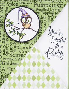 Stampendous® Owl with Spider Party Invite