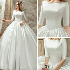 Vintage / Retro Ivory Satin Wedding Dresses 2019 Ball Gown Scoop Neck Sleeves Backless Cathedral Train Ruffle Vintage / Retro Ivory Satin Wedding Dresses 2019 Ball Gown Scoop Neck Sleeves Back Wedding Dress With Pockets, Wedding Dresses With Straps, Wedding Dress Chiffon, Wedding Dress Styles, Backless Wedding, Gown Wedding, Lace Wedding, Trendy Wedding, Ball Dresses