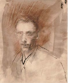 Ambrose McEvoy (British, 1878-1927), Self-portrait. Ink, chalk and watercolour, 10 x 8 in.