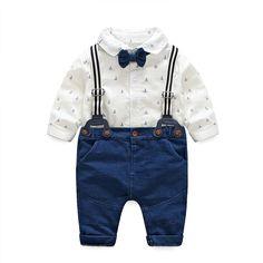 445ef4ed5 Moda Bebé Ropa de manga larga camisa blanca + Suspender + pajarita 3cps  Caballero de la