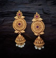 Conventional Antique Hanging Earrings studded with Ruby synthetic stones with gold Polish. Conventional Antique Hanging Earrings studded with Ruby synthetic stones with gold Polish. Kids Gold Jewellery, Gold Jewelry Simple, Gold Jewellery Design, Simple Earrings, Jewellery Making, Temple Jewellery, Silver Jewelry, Jewelry Design Earrings, Gold Earrings Designs
