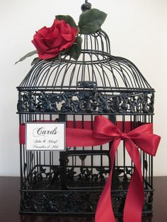 Black Bird Cage Wedding Card With Red Rose / Wedding Card Holder Birdcage / Wedding Birdcage