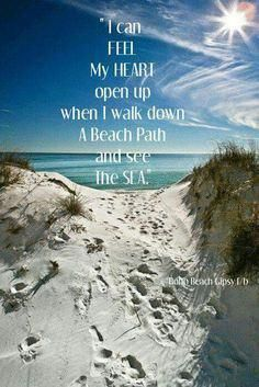 I can feel my heart open up when I walk down a beach path and see the sea. Playa Beach, Beach Bum, Ocean Beach, Mermaid Beach, Nature Beach, Image Citation, Ocean Quotes, Ocean Sayings, Surf Quotes