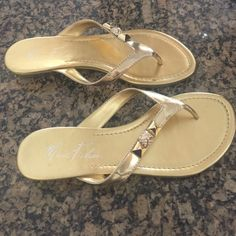 Mark Fisher gold sandals size 7 Beautiful like new Mark Fisher gold sandals in size 7. Wore these one time and they still look brand new. Comes from smoke free home. Mark Fisher Shoes Sandals