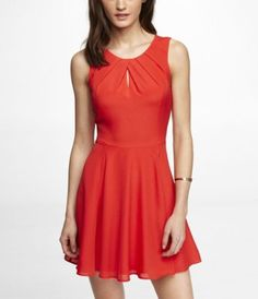 PLEATED KEYHOLE FIT AND FLARE DRESS $55.93 in Bright Tamale