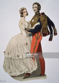 Queen Victoria (1819 - 1901) and Prince Albert take to the dance floor.