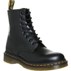 DR. MARTENS 1460 8-eye leather boots ($155) ❤ liked on Polyvore featuring shoes, boots, combat boots, black, combat booties, leather lace up boots, chukka boots, low heel boots and black boots